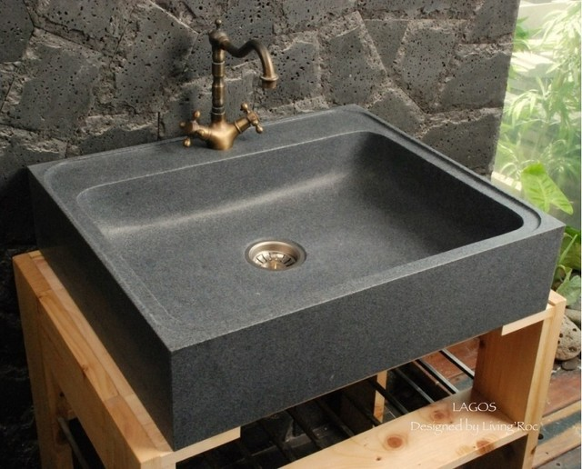 LAGOS GRAY GRANITE FARMHOUSE KITCHEN SINK craftsman-kitchen-sinks