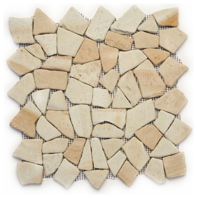Bamboo Pebbles and Stones Cream/Beige Indonesian Mosaic Tiles Tumbled transitional-mosaic-tile