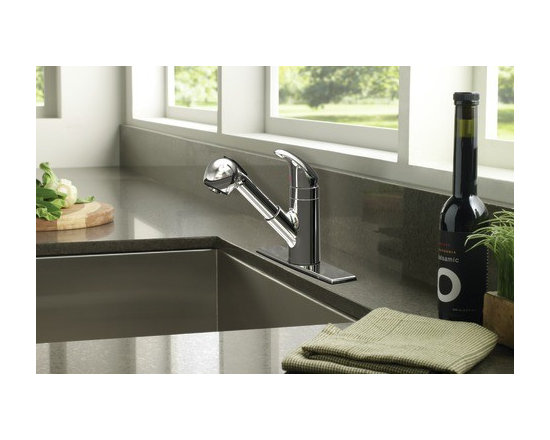 Moen Integra Chrome one-handle low arc pullout kitchen faucet - The Integra® collection contributes to an urban appeal and modern, eye–catching aesthetic.