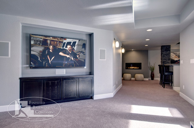 Basement TV Wall traditional-basement