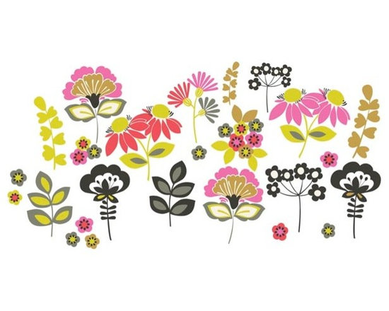 """Brewster Home Fashions - Eden Wall Art Kit Decal - A pop art meadow of mod flowers brings a friendly and fashionable look to your room. Arrange these vivid floral decals to suit your space for a bohemian splash of happiness. Eden Wall Decals come on a 17.25"""" x 24"""" sheet and contains 27 total pieces. WallPops are always repositionable and removable."""