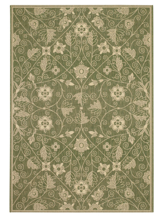 """Finesse Garden Maze rug in Leaf Green - An esteemed """"Capel Anywhere"""" rug collection woven on precision machine looms in Europe. A flat weave construction of pure Olefin yarn, these versatile rugs can be used in high traffic areas indoors - like kitchens and sunrooms - or to dress up covered porches and decks outside. The graceful pattern is a direct replication of an antique fabric found in the famous Williamsburg archives."""