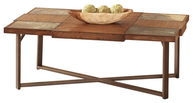 Slate Top Cocktail Table With Gauge Metal Base Traditional Coffee