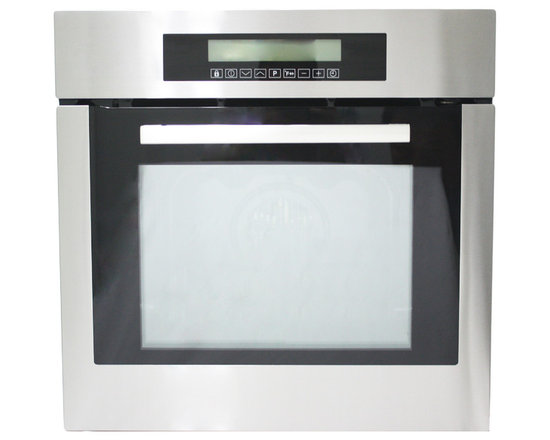 """Cosmo - 24"""" Electric Wall Oven with 10-functions, 24"""" - A small kitchen can still have big style with the 24"""" 10-Function Built-In Oven. The smaller cavity dimensions fit any kitchen design and reduces energy consumption while still providing ample space to prepare your meals with efficiency and ease. With its classic brushed stainless steel finish, this built-in oven is designed to perform as well as it looks. The cool-touch door protects you and your family from high temperatures while cooking."""