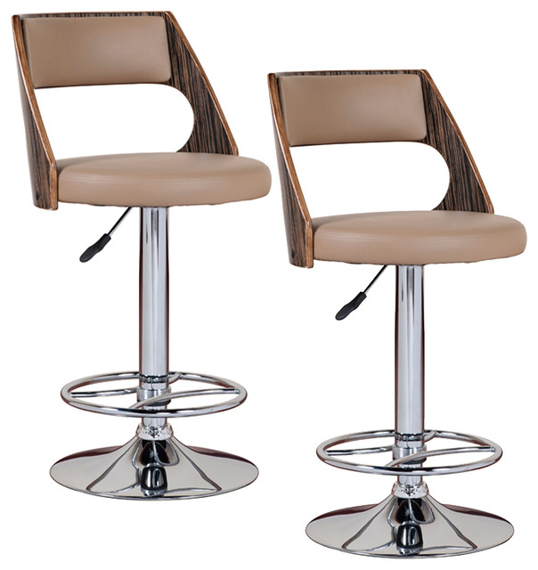 Saddle Bentback Adjustable Swivel Stool with Mocha Highlights (Set of 2) contemporary-bar-stools-and-counter-stools