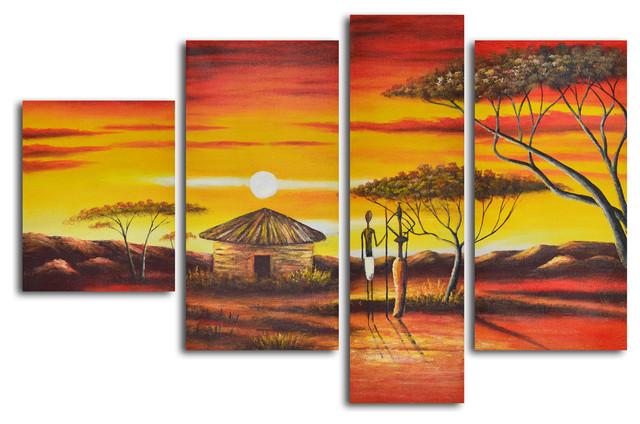 African homestead sunset Hand Painted 4 piece canvas set modern-artwork