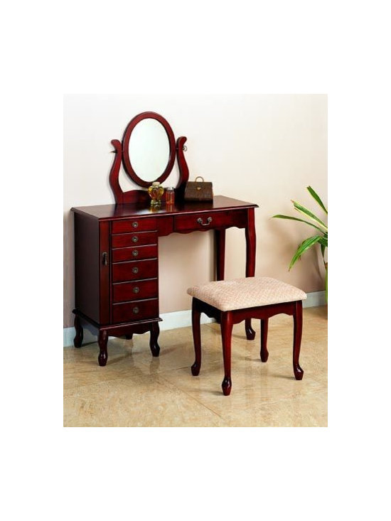 Bedrooms Furniture - Transitional Cherry Vanity&Stool Set