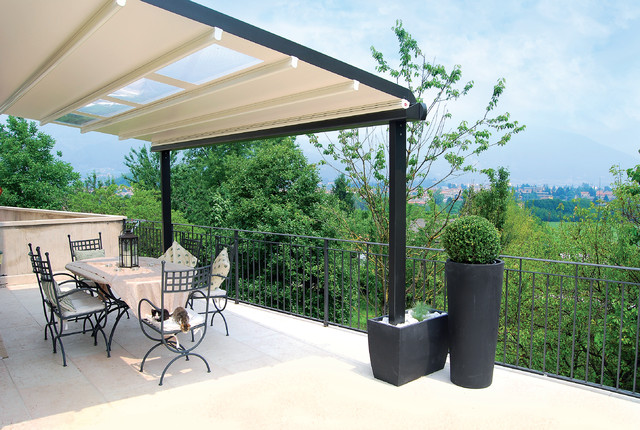 Awning for large terrace pergola other metro by for Terrace pergola
