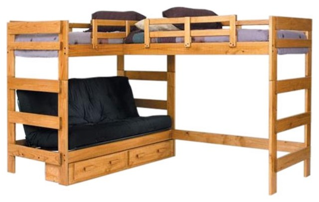 Woodcrest Heartland Futon Bunk Bed with Extra Loft Bed - Modern - Beds ...