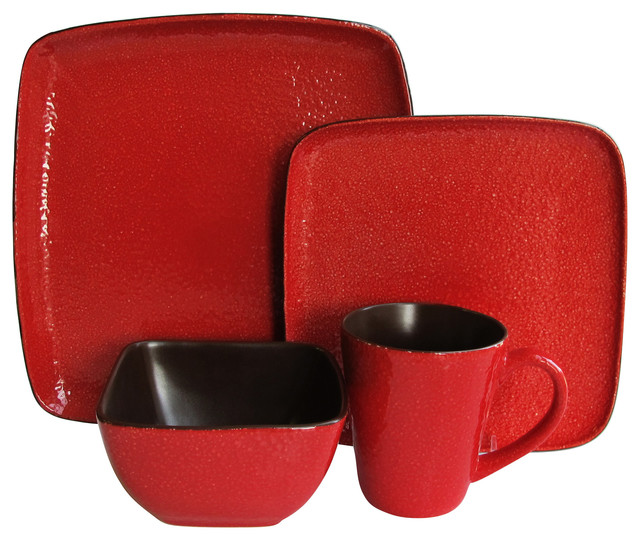 Caliente Red 16 Piece Dinnerware Set Modern Dinnerware Sets By Jay Import