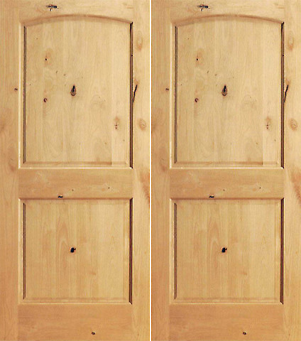S W 95 Interior Knotty Alder 2 Panel Arch Top Panel Double Door Traditional Interior Doors