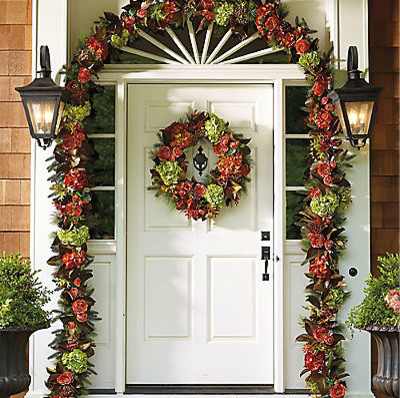 Carolina Fall Garland Contemporary Outdoor Holiday