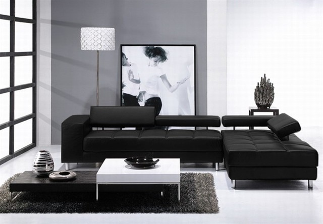 Ultra Modern White Black Leather Sectional Sofa With