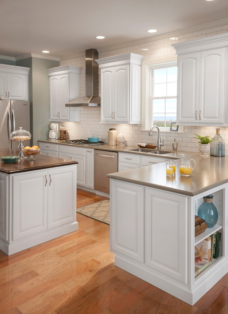 Grove Arch Painted Linen - Traditional - Kitchen Cabinetry ...