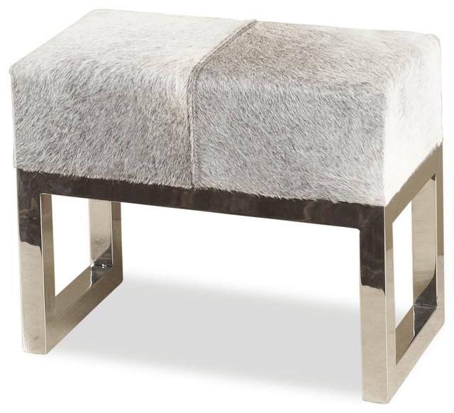 Moro Hollywood Regency Grey Hide Steel Ottoman Stool transitional-footstools-and-ottomans