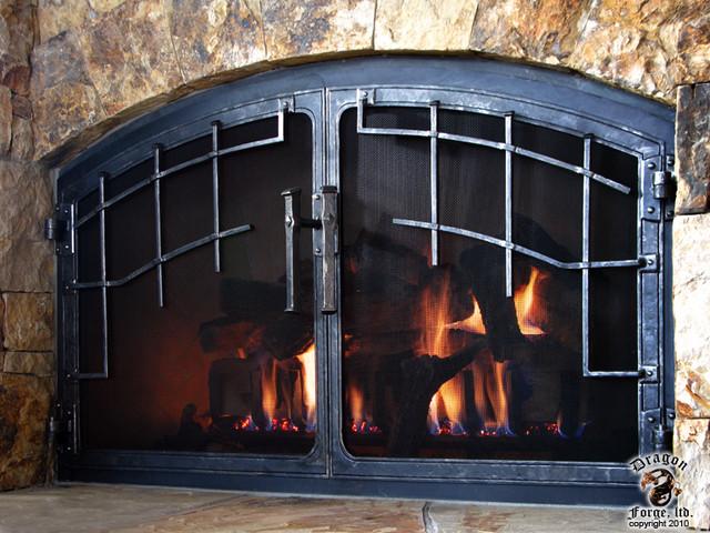 Fireplace Door Modern Indoor Fireplaces Denver By Dragon Forge Ltd