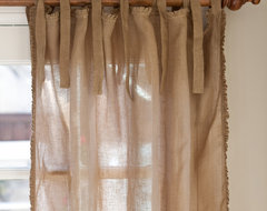 Ruffle Tobacco Linen Curtain Panel, 42x84 traditional curtains