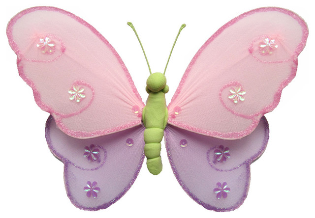 Hanging Butterfly Small Pink Purple Green Hailey Baby Bedroom Kids Childrens Wal Traditional