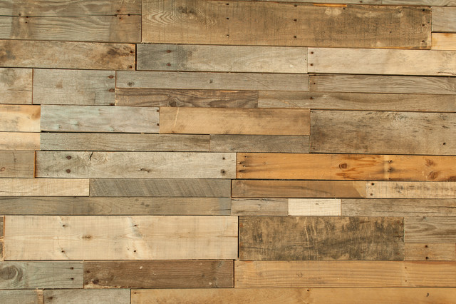 Rustic Wall Paneling ~ Recycled pallet and reclaimed wood paneling rustic