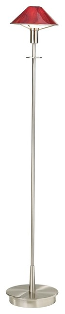 Contemporary Holtkoetter Satin Nickel and Magma Red Glass Floor Lamp contemporary-floor-lamps