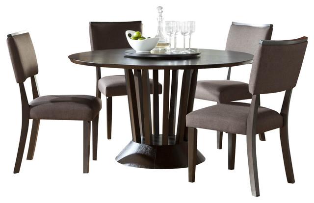 Homelegance lobelia 5 piece round pedestal dining room set for Traditional round dining room sets