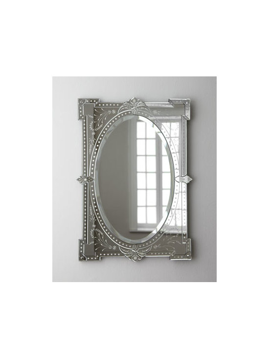 Horchow - Nicola Mirror - Shapes within shapes and delicate etching form a pretty mirror that's traditional in style but versatile in scope. It's nicely sized, as well, to make the most of its light-catching, space-enhancing effects without being overwhelming. Handcrafted of wo...
