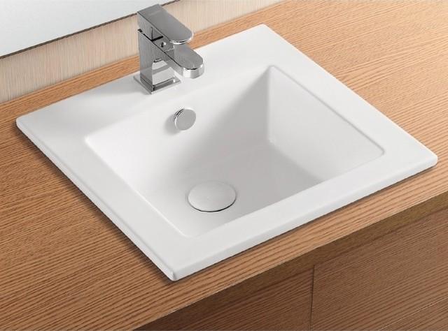 Square Bathroom Sinks : Square White Ceramic Self Rimming Bathroom Sink contemporary bathroom ...