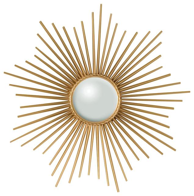 Mini Sunburst Mirror - Gold - Contemporary - Wall Mirrors - by Bliss Home & Design