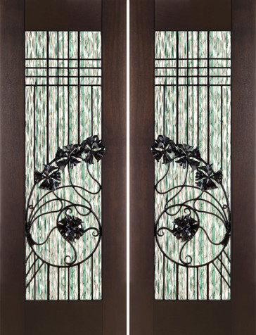 "Pair of 2-1/4"" Thick Art Nouveau Mahogany Doors Waterfall Glass ..."