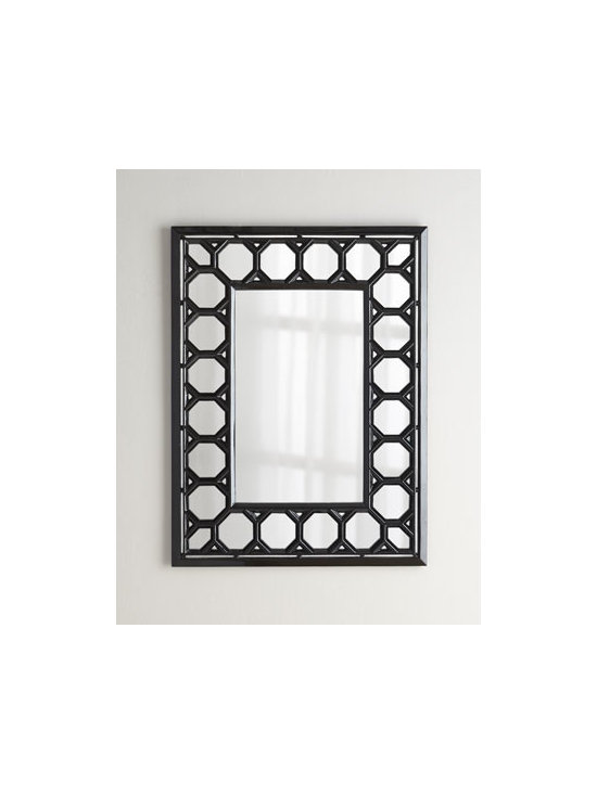 """NM EXCLUSIVE - NM EXCLUSIVE Octagon-Motif Mirror - Exclusively ours. A geometric design in bold black gives this mirror go-with-anything panache. Made of polyurethane, wood composite, and mirrored glass. Hand-painted finish. 32.5""""W x 1.25""""D x 43.5""""T. Imported. Boxed weight, approximately 20 lbs....."""
