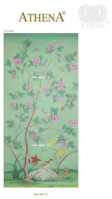 The hand-painted silk wallpaper asian