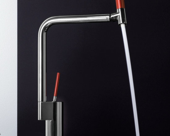 Webert 360 kitchen faucet in chrome/red - Appropriately called the 360, this long, tall kitchen faucet rinses as directed with precise water direction. The 360's hallmark is its fully pivoting/rotational head, a feature that enables you to banish dish debris from any and all angles. This faucet comes in a chrome finish with aluminum details and red handles. Visit the website for pricing on other finish and color options.