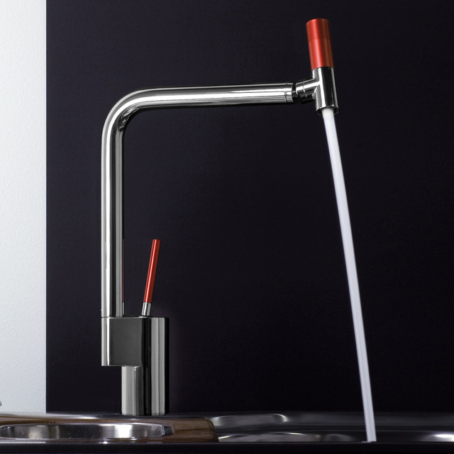 Webert 360 Kitchen Faucet In Chrome Red Modern Kitchen