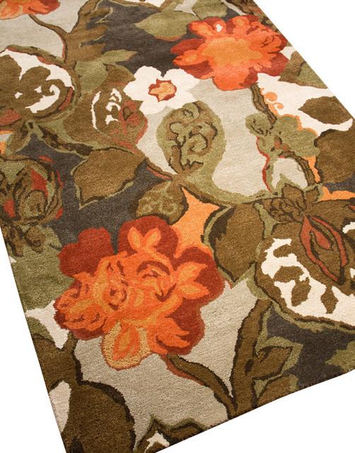 Blue Petal Pusher Rug, 5'x8' contemporary-area-rugs