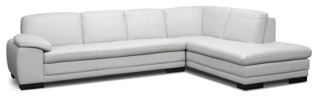 Diana Pale Gray Leather Modern Sectional Sofa contemporary-sectional-sofas