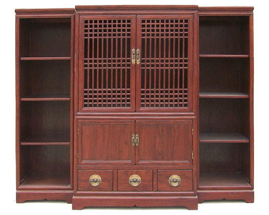 Golden Lotus - Oriental Open Panel Handmade Solid Elm Wood TV Cabinet 3 Pcs Set - This unique TV cabinet set comes with one cabinet in the middle and two shelves by each side. It is made of solid elm wood and has bronze handles on the drawers and compartments.
