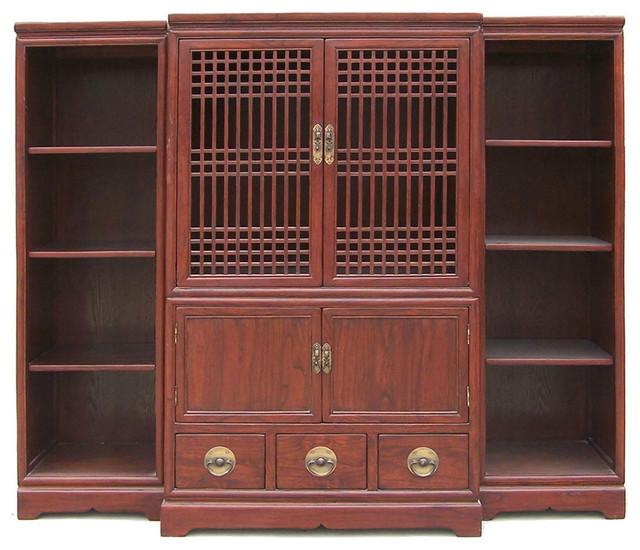 Oriental Open Panel Handmade Solid Elm Wood TV Cabinet 3 Pcs Set - Asian - Entertainment Centers ...