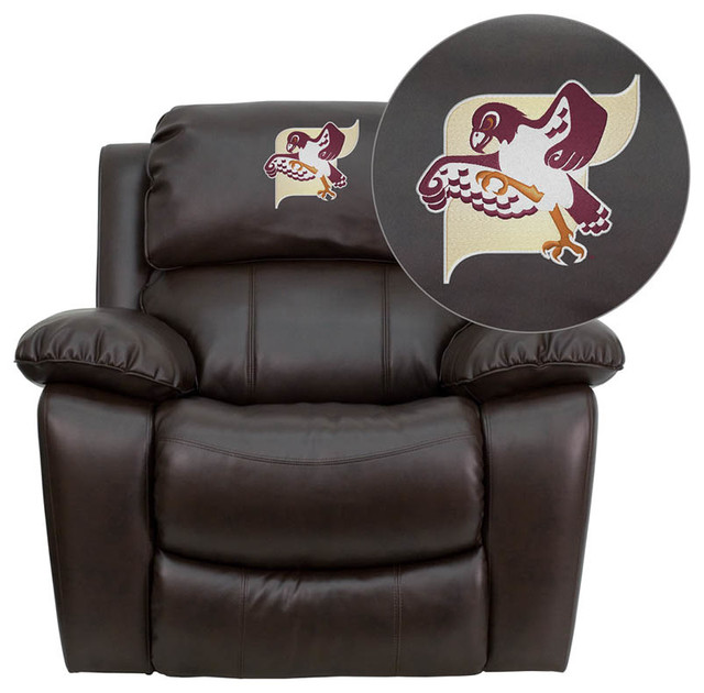 Fairmont State University Falcons Embroidered Brown Leather Rocker Recliner modern-living-room-chairs
