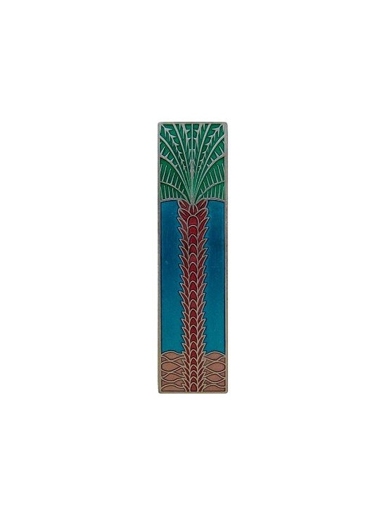 """Inviting Home - Vertical Royal Palm Pull (brilliant pewter-bright turquoise) - Hand-cast Vertical Royal Palm Pull in brilliant pewter-bright turquoise finish; 1""""W x 4""""H; Product Specification: Made in the USA. Fine-art foundry hand-pours and hand finished hardware knobs and pulls using Old World methods. Lifetime guaranteed against flaws in craftsmanship. Exceptional clarity of details and depth of relief. All knobs and pulls are hand cast from solid fine pewter or solid bronze. The term antique refers to special methods of treating metal so there is contrast between relief and recessed areas. Knobs and Pulls are lacquered to protect the finish."""