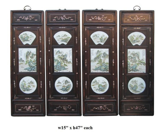 Chinese Rosewood Porcelain Mountain Scenery Wall Panel Set - This is a set of 4 pieces porcelain oriental mountain scenery art with wooden frame. The edge is decorated with mother of pearl inlay motif. It is a traditional Chinese wall decoration accent with clean and subtle character. There is a hinge at the top for wall hanging.