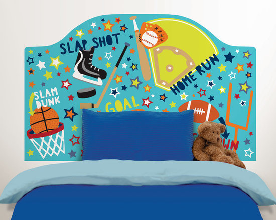 Headboards - A fun sports themed décor idea for you child's bedroom, this colorful headboard decal adds the finishing touch with bright energetic words and cool sports graphics.