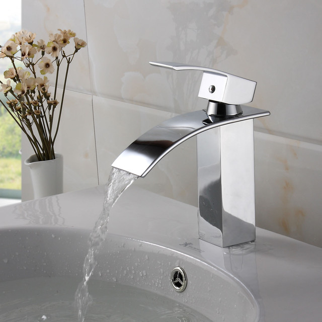Elite Modern Bathroom Sink Waterfall Faucet Chrome Finish contemporary-bathroom-faucets-and-showerheads