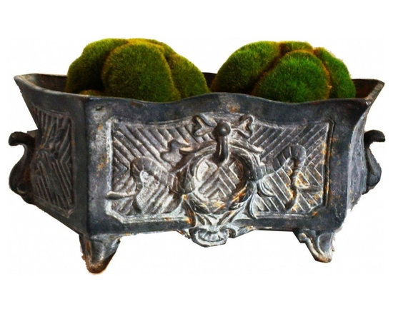 Iron Garden Urn - Footed Urn from France.  Rectangular shape.  Aged gray patina, French wreath and bow design on both sides.