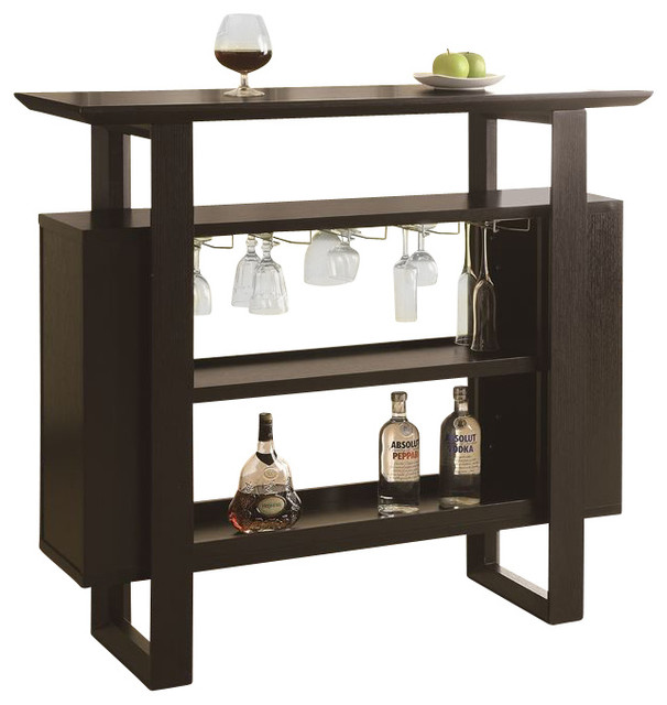 Rectangular Bar Table With Bottle And Glass Storage In Cappuccino Contemporary Indoor Pub