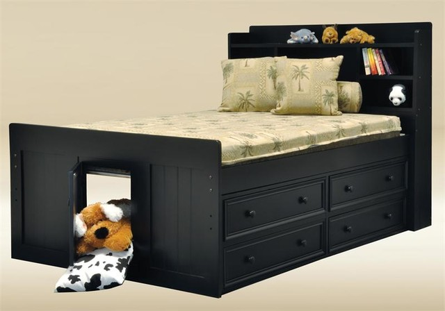 Black Full Size Captains Bed Contemporary Orange