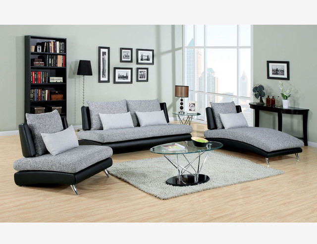 modern gray black fabric leather sofa couch chair chaise living room