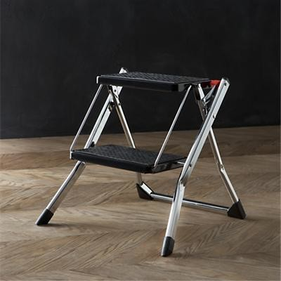 Polder 174 Chrome Mini Step Stool Contemporary Ladders