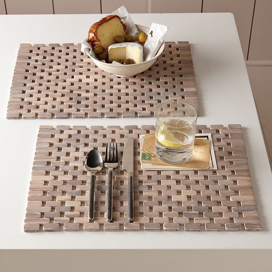 White Washed Wood Placemats Modern Placemats By West Elm