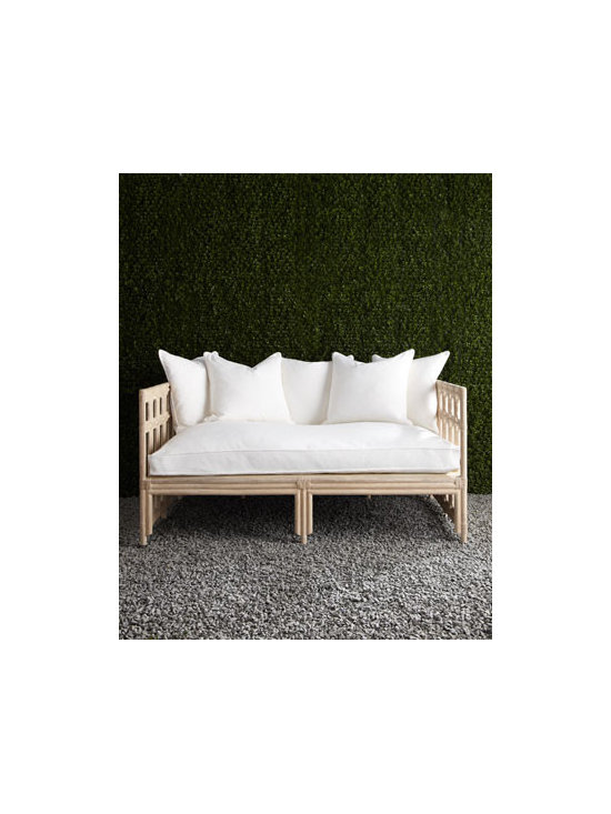 Horchow - White Faux Bamboo Outdoor Sofa - Exclusively ours. Outright inspired, alfresco entertaining is more inviting with this outdoor sofa crafted to resemble bamboo. Cushions sold separately. Hand cast of crushed stone/polyester resin/styrene/FiberMat®. Hand-painted lacquer finish.....