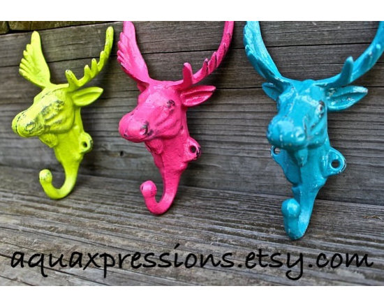 Bright Moose Head Cast Iron Wall Hooks by Aqua Xpressions - Taxidermy in splendid colors always makes me smile as I walk by.